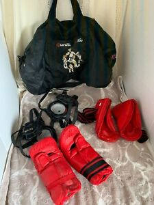 7 Piece Red Karate Sparring Gear Set  2 Head Foot Hand Guards And Bag