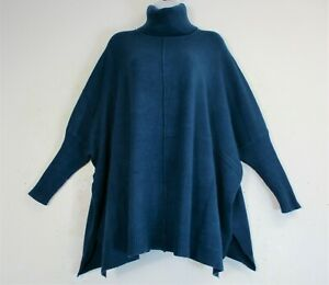 LADIES/WOMENS LAGENLOOK  KNITTED PONCHO/CAPE/JUMPER/POLO 9 COLOURS ONE SIZE:PLUS