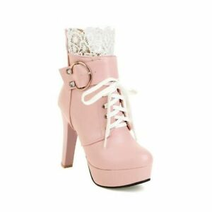Women's Lolita Block High Heel Buckle Strap Lace Up Round Toe Ankle Boots Shoes