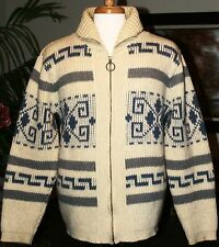 Men's Vintage PENDLETON Cowichan Sweater L Wool USA Ivory Blue/Gray Big Lebowski