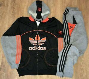 Adidas vintage 90s Basketball Orange Black tracksuit track top + pants size M