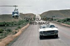 """HELICOPTER CHASE SCENE 1970 DODGE CHALLENGER R/T """"VANISHING POINT"""" MOVIE PHOTO"""