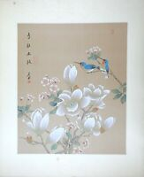 Vintage Oriental Asian Art, Watercolor Painting on Silk Paper, Birds on Magnolia