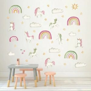 Rainbow Unicorn Clouds Stars Wall Stickers Decals Removable Nursery Kids Room