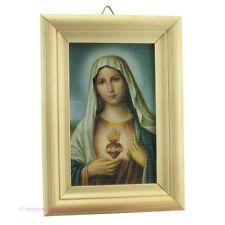 Heiligenbild - Bild mit Mutter Gottes Maria in Holzrahmen - Hl. Herz Mariä