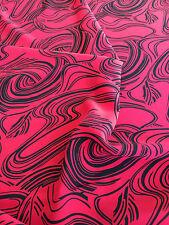 Rojo y Negro Remolinos Crepe tejido orgánico