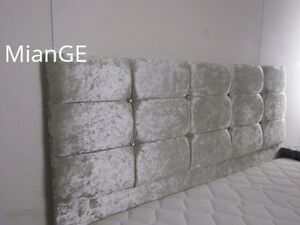 4FT6 DOUBLE SILVER CRUSHED VELVET DIAMANTE HEADBOARD!! ALL SIZES & COLORS AVAIL