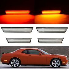 Clear Front & Rear LED Side Marker Lamp Lens Set For 2008-2014 Dodge Challenger