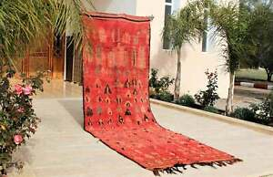 Vintage Moroccan Rug Boujad berber handmade unique wool carpet 13'1''x 4'8' ft