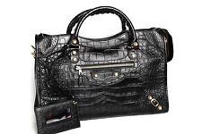 NWT Balenciaga Giant 12 Light Gold City Croc-Embossed Bag Black Retails $2,150