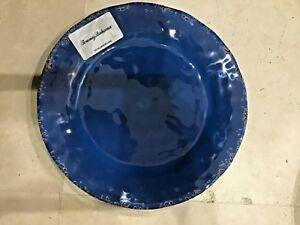 "Tommy Bahama Plate 100% Melamine Rustic Crackle Cobalt Blue Round 11"" Dinner Nwt"