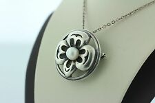 Pearl Flower Pendant & Brooch Pin Vintage Signed Sharp Ss Sterling Silver 925