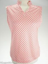 Adidas M Coral and Pink Sleeveless V Neck Mandarin Collar Climacool Top Shirt