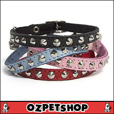Dogue Coco Cat Studded Leather Collar - Baby Pink - 30cm