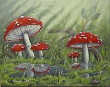 Acrylmalerei Christiane Schwarz; FLIEGENPILZE NACH DEM REGEN  50x40cm KUNST BILD