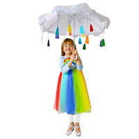 Girls Rainbow Raincloud Child Halloween Costume Colorful Dress + Umbrella XS S M