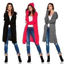 NEU Damen Strickjacke Pullover Cardigan Kapuze V-Ausschnitt Langer Abschnitt UNI