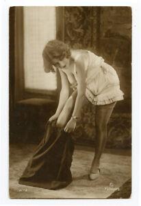 1920s French Risque Nude CUTE FLAPPER underwear Wyndham Lady photo postcard
