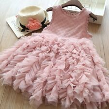 US Fancy Kids Baby Girl Flower Dress Lace Tutu Party Gown Pageant Dress Sundress