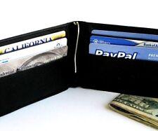 BLACK ID BATCH LEATHER BiFold MONEY CLIP Credit Card Bill Fold Slim Wallet