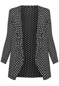 Womens Plus Size Polka Dot Long Sleeve Ladies Spot Print Cardigan