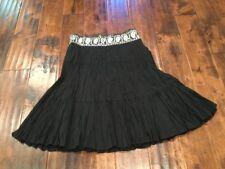 BCBG Max Azria Black A-Line Skirt with Beaded Waist, Size XS, NWT! $140