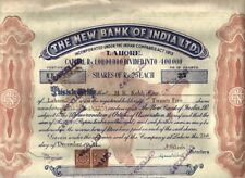 INDIA PAKISTAN 1944 NEW BANK OF INDIA LAHORE STOCK SHARE CERTIFICATE + REVENUES