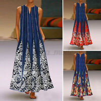 Womens Summer V Neck Sleeveless Floral Printed Dress Cocktail Party Club Dresses