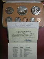 Cook Islands 1976 Proof 8 Coin Set: 1 Cent ~ $5 Silver Dollar COA Info Cased