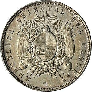 1877-A URUGUAY REPUBLIC SILVER PESO PCGS UNC-DETAILS KM-17 (CLEANED)