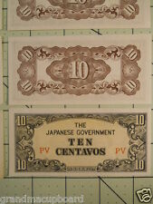 Lot of 50 1942 UNC Philippines 10 Centavos P104a Note PV WW2 Japanese Occupation