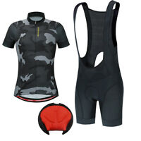 Cycling Camouflage Jersey Bib Shorts Set Gel Padded Short Sleeve Breathable Mens