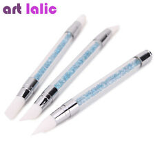 3Pcs Double Way Rhinestone Nail Art Brush Pen Silicone Head Carve Manicure Tool