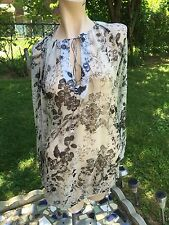 NWOT Monique Leshman Sz.S Tunic/top/long Sleeve jeweled Floral Print