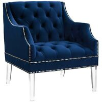 Modway Proverbial Tufted Button Accent Performance Velvet Armchair - Navy