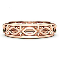 Rose Gold Plated Jewelry 925 Silver Filled Unique Wedding Party Ring Size 6-10