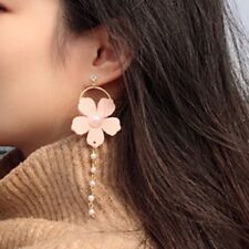 Korean Women Pink Flower Petal Pearl Beads Tassel Long Dangle Ear Stud Earrings