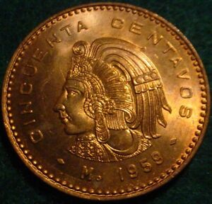 AZTEC WARRIOR HI GRADE BU RED 1959 LARGE BRONZE 50 CENTAVOS MEXICO**BEAUTIFULL**