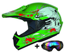 Kids Pro Kinder Motorradhelm Brille Grün XXS Cross Helm MX Crossbrille Enduro