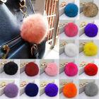Large Rabbit Fox Fur Pom Ball Tassel Handbag Purse Keychain Key Ring USA Seller