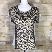 Chicos Mixed Media Top Size 0 Animal Print Leopard Cheetah Lace Trim Tan Brown