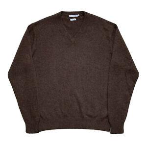 Mens L Peter Millar Chestnut Brown 100 % Cashmere 4 Ply V Neck Sweater