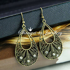 H&M Vintage STL GOLD Tone Womens Teardrop PEAR DANGLE CRYSTAL EARRINGS OP502 NEW