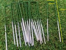 Half Green Artificial Grass U Pins Galvanised Metal Pegs Staples Membrane x 20