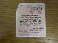 25/04/1964 Ticket: England Schools v Germany Schools [At Wembley] (corner/top ed