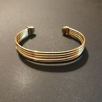 Vintage Trifari Gold Tone Five Wire Cuff Bracelet