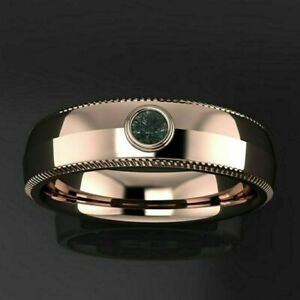 SOLITAIRE BEZEL SET ANNIVERSARY MEN'S BAND 1.32 CT EMERALD 14K ROSE GOLD PLATED