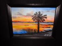 Original Acrylic Painting 8x6 Canvas, Beach Sunset Seascape Coastal Art Signed