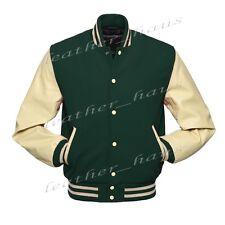 Superb Genuine Leather Sleeve Letterman College Varsity Wool Jacket #CS-CLRS-CRB