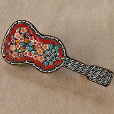 *Vintage Mid Century Italian Micro Mosaic Guitar Brooch
